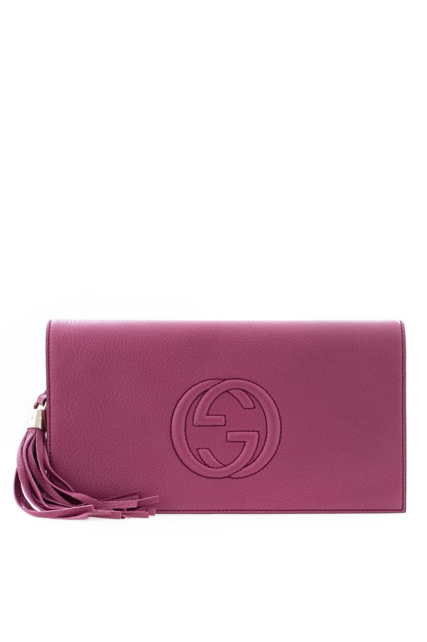 Кожаный клатч-борсетка Gucci, черный, арт 2451-4